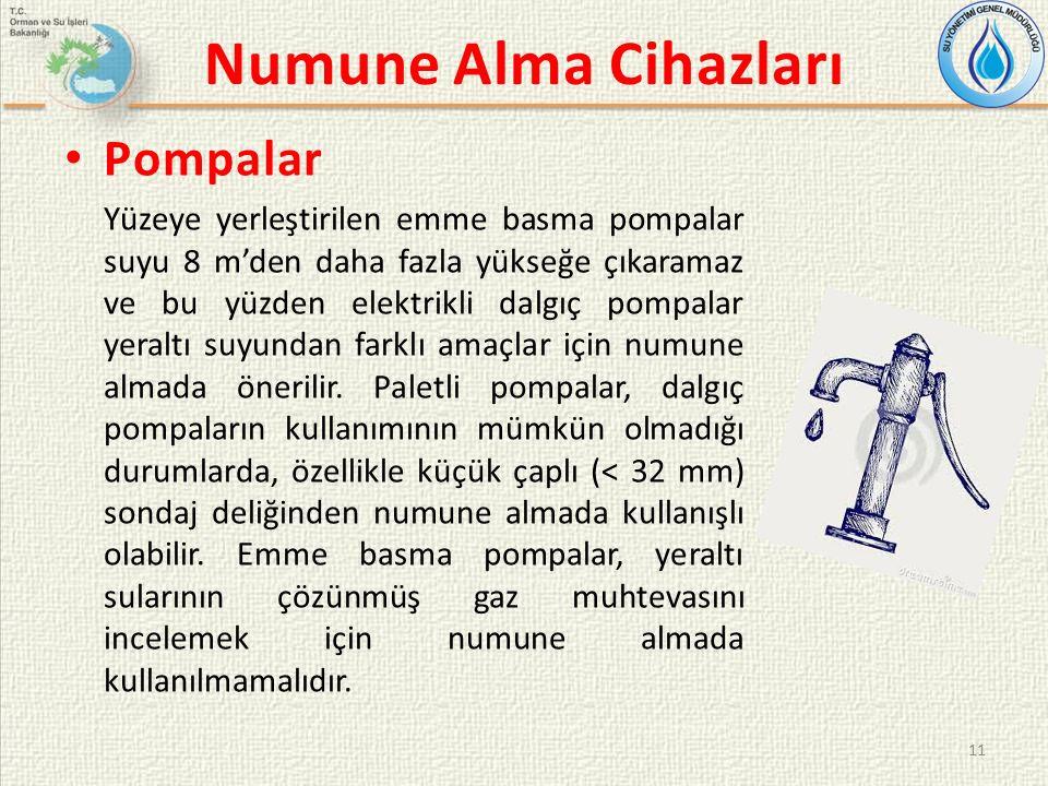 Numune Alma Cihazları Pompalar Yüzeye yerleştirilen emme basma pompalar suyu 8 m'den daha fazla yükseğe çıkaramaz ve bu yüzden elektrikli dalgıç pompalar yeraltı suyundan farklı amaçlar için numune almada önerilir.