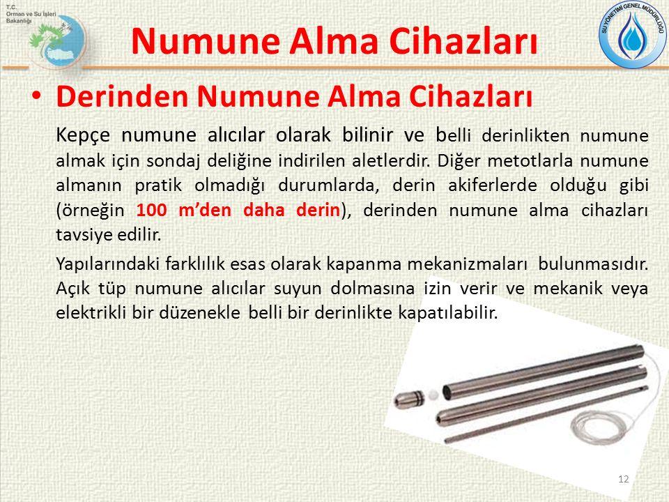 Numune Alma Cihazları Derinden Numune Alma Cihazları Kepçe numune alıcılar olarak bilinir ve b elli derinlikten numune almak için sondaj deliğine indirilen aletlerdir.