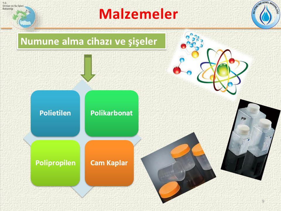 Malzemeler 9 Numune alma cihazı ve şişeler PolietilenPolikarbonatPolipropilenCam Kaplar