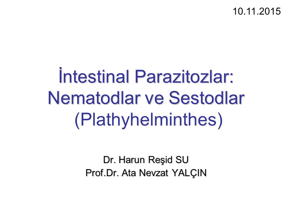 İntestinal Parazitozlar: Nematodlar ve Sestodlar İntestinal Parazitozlar: Nematodlar ve Sestodlar (Plathyhelminthes) Dr.