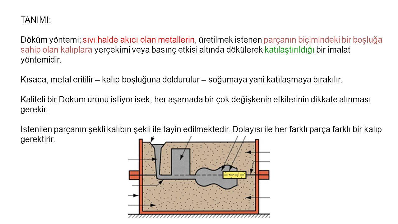 TANIMI: Döküm yöntemi; sıvı halde akıcı olan metallerin, üretilmek istenen parçanın biçimindeki bir boşluğa sahip olan kalıplara yerçekimi veya basınç