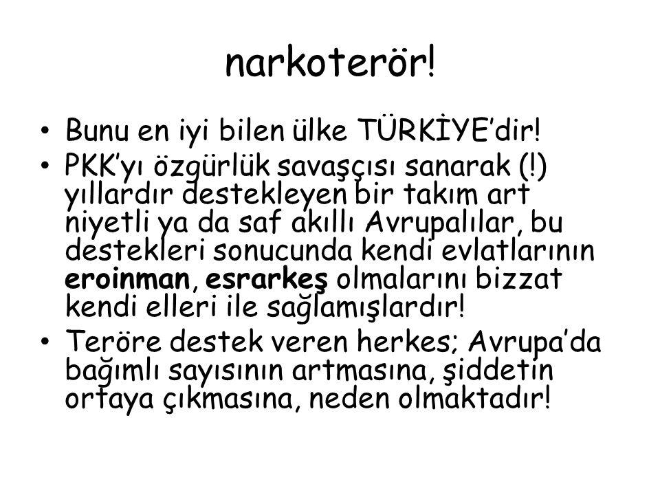 narkoterör! Bunu en iyi bilen ülke TÜRKİYE'dir! PKK'yı özgürlük savaşçısı sanarak (!) yıllardır destekleyen bir takım art niyetli ya da saf akıllı Avr