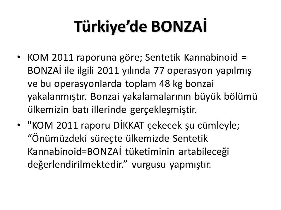 Türkiye'de BONZAİ KOM 2011 raporuna göre; Sentetik Kannabinoid = BONZAİ ile ilgili 2011 yılında 77 operasyon yapılmış ve bu operasyonlarda toplam 48 k