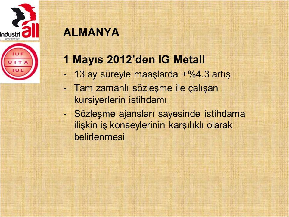 ALMANYA 1 Mayıs 2012'den IG Metall -13 ay süreyle maaşlarda +%4.3 artış -Tam zamanlı sözleşme ile çalışan kursiyerlerin istihdamı -Sözleşme ajansları sayesinde istihdama ilişkin iş konseylerinin karşılıklı olarak belirlenmesi