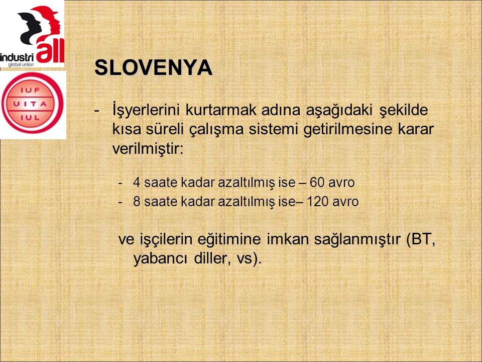 SLOVENYA -İşyerlerini kurtarmak adına aşağıdaki şekilde kısa süreli çalışma sistemi getirilmesine karar verilmiştir: -4 saate kadar azaltılmış ise – 60 avro -8 saate kadar azaltılmış ise– 120 avro ve işçilerin eğitimine imkan sağlanmıştır (BT, yabancı diller, vs).