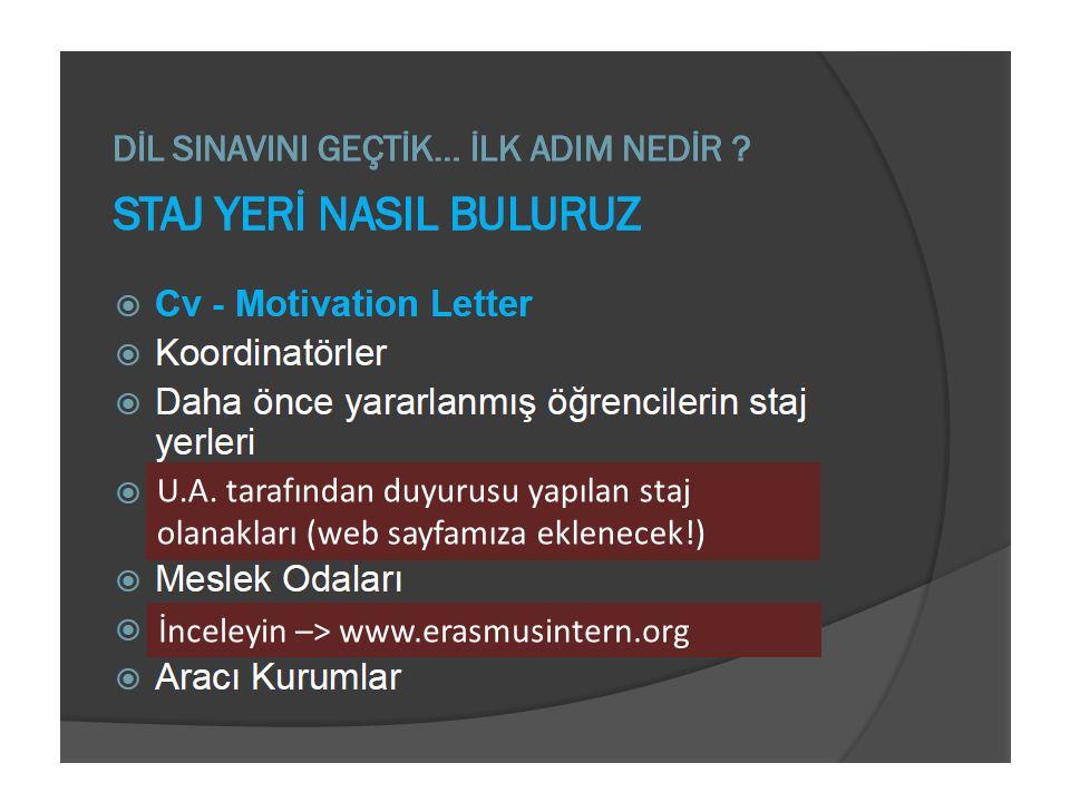 U.A. tarafından duyurusu yapılan staj olanakları (web sayfamıza eklenecek!) İnceleyin –> www.erasmusintern.org