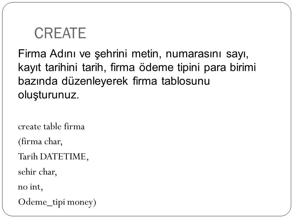 CREATE create table firma (firma char, Tarih DATETIME, sehir char, no int, Odeme_tipi money) Firma Adını ve şehrini metin, numarasını sayı, kayıt tari