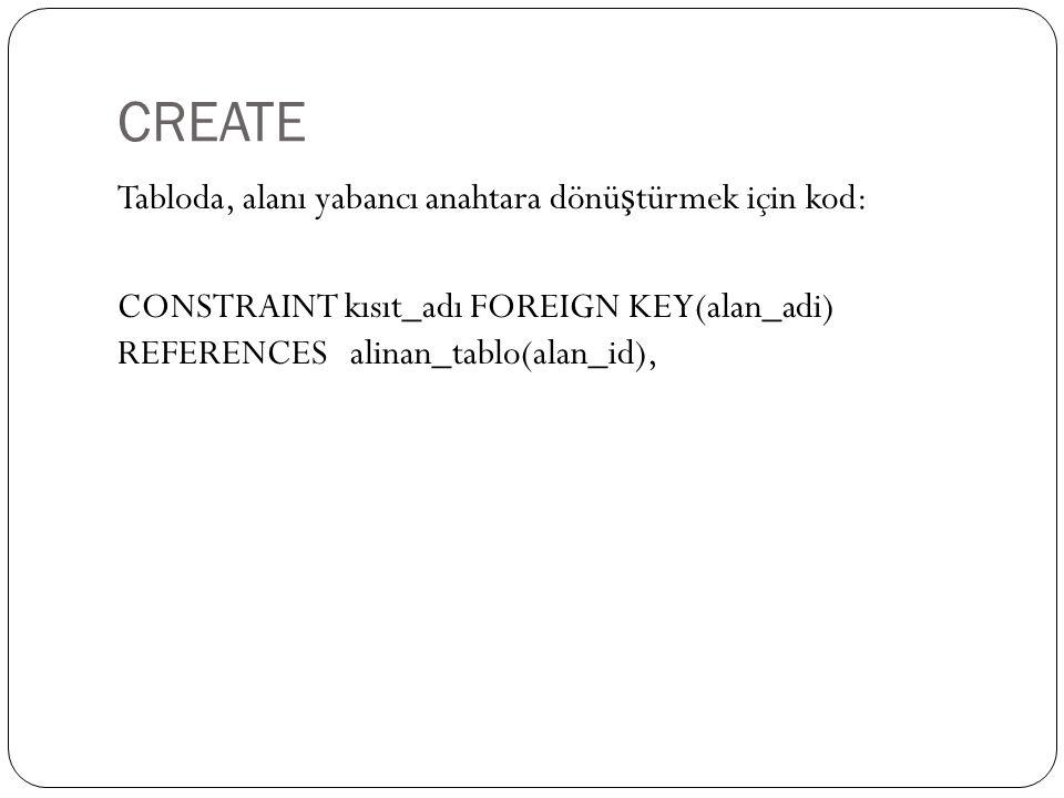 CREATE Tabloda, alanı yabancı anahtara dönü ş türmek için kod: CONSTRAINT kısıt_adı FOREIGN KEY(alan_adi) REFERENCES alinan_tablo(alan_id),