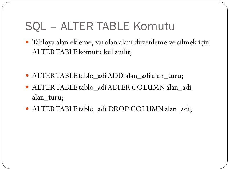 SQL – ALTER TABLE Komutu Tabloya alan ekleme, varolan alanı düzenleme ve silmek için ALTER TABLE komutu kullanılır, ALTER TABLE tablo_adi ADD alan_adi