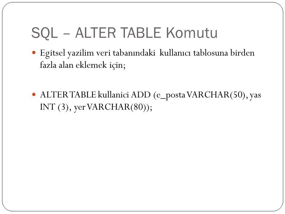 SQL – ALTER TABLE Komutu Egitsel yazilim veri tabanındaki kullanıcı tablosuna birden fazla alan eklemek için; ALTER TABLE kullanici ADD (e_posta VARCH