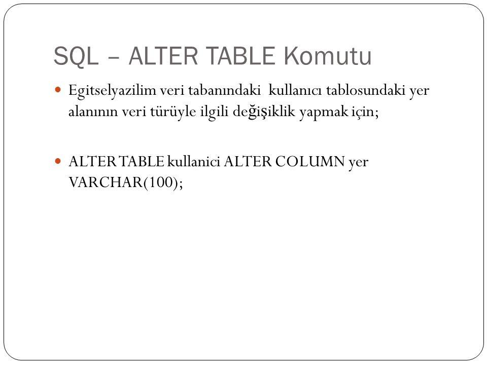 SQL – ALTER TABLE Komutu Egitselyazilim veri tabanındaki kullanıcı tablosundaki yer alanının veri türüyle ilgili de ğ i ş iklik yapmak için; ALTER TAB