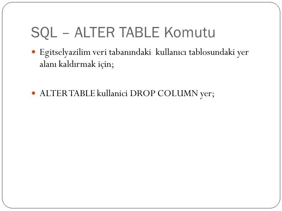 SQL – ALTER TABLE Komutu Egitselyazilim veri tabanındaki kullanıcı tablosundaki yer alanı kaldırmak için; ALTER TABLE kullanici DROP COLUMN yer;