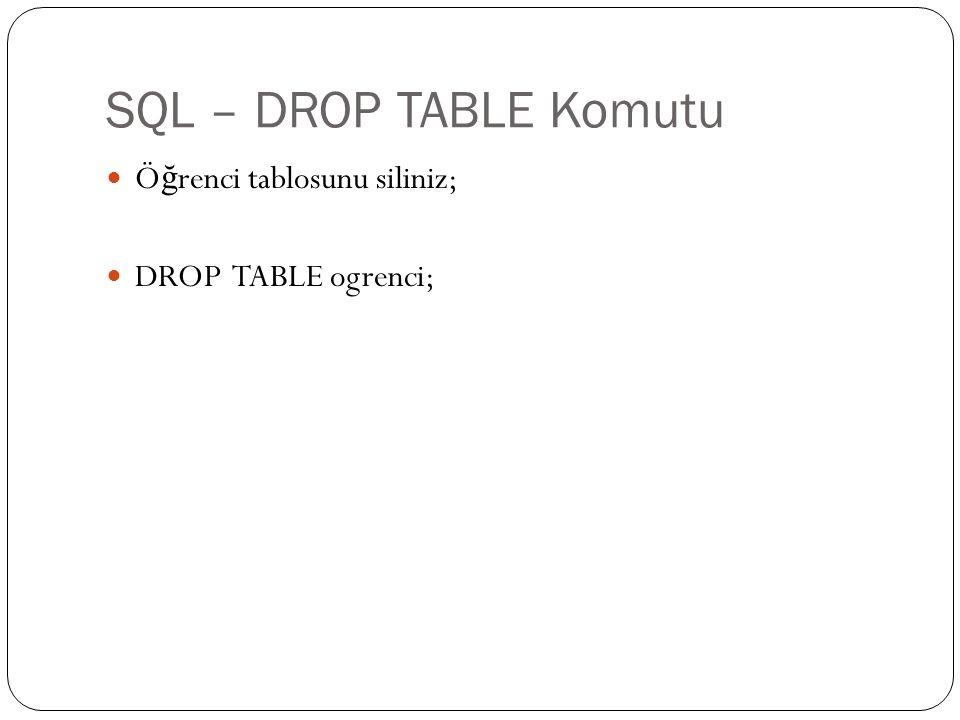 SQL – DROP TABLE Komutu Ö ğ renci tablosunu siliniz; DROP TABLE ogrenci;