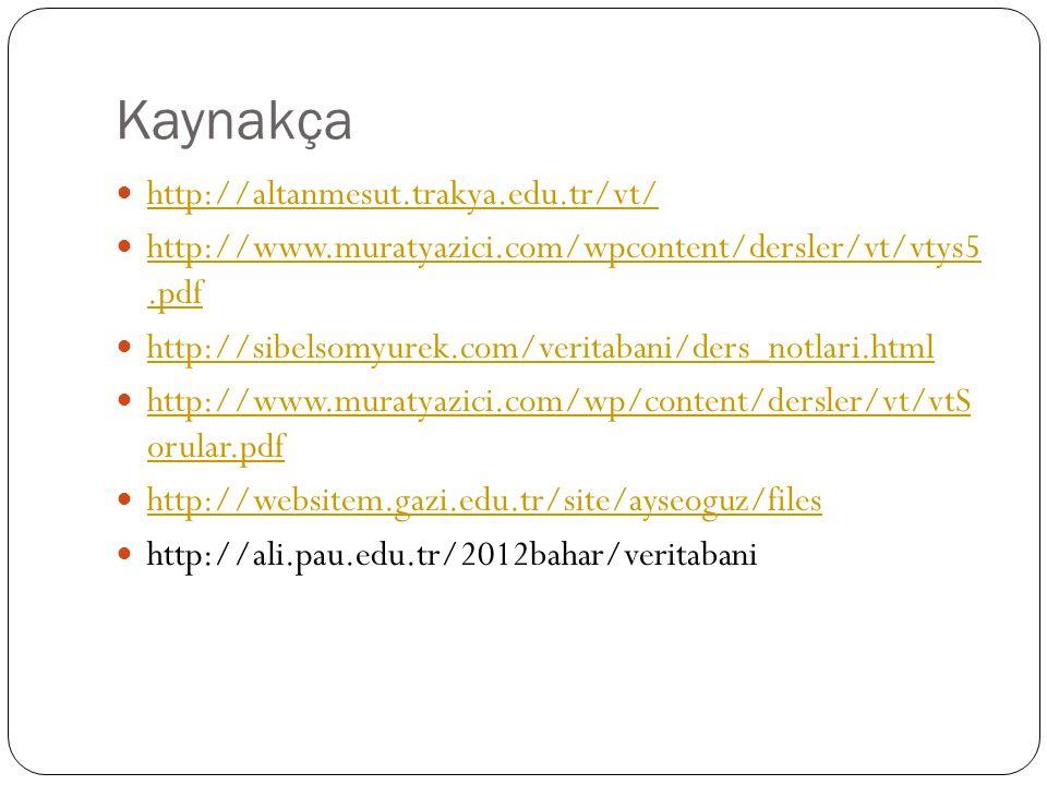 Kaynakça http://altanmesut.trakya.edu.tr/vt/ http://www.muratyazici.com/wpcontent/dersler/vt/vtys5.pdf http://www.muratyazici.com/wpcontent/dersler/vt