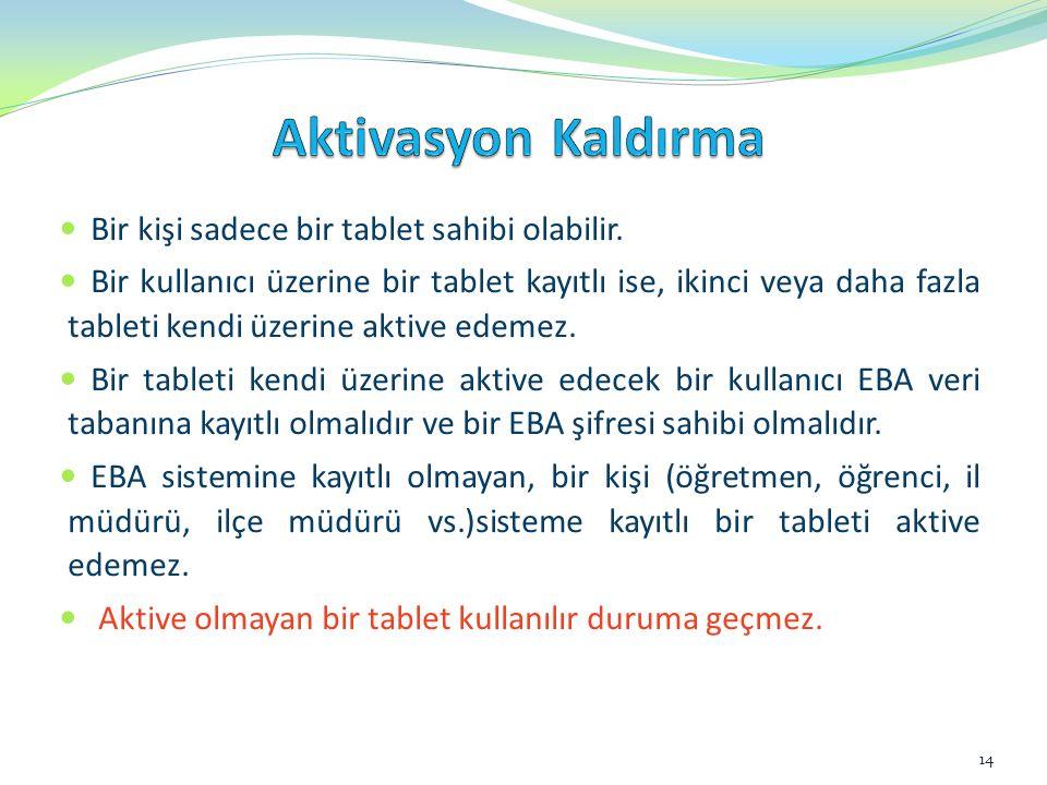 Değişik nedenlerden dolayı bir tablet bir kişiden alınıp, başka bir kişiye verilecekse, o tablet üzerindeki eski kişiye ait aktivasyon kaldırılmalıdır.