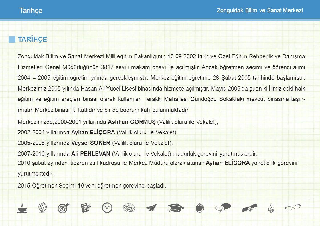TARİHÇE Zonguldak Bilim ve Sanat Merkezi Milli eğitim Bakanlığının 16.09.2002 tarih ve Özel Eğitim Rehberlik ve Danışma Hizmetleri Genel Müdürlüğünün