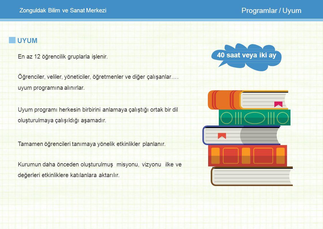 Zonguldak Bilim ve Sanat Merkezi Programlar / Uyum UYUM En az 12 öğrencilik gruplarla işlenir. Öğrenciler, veliler, yöneticiler, öğretmenler ve diğer