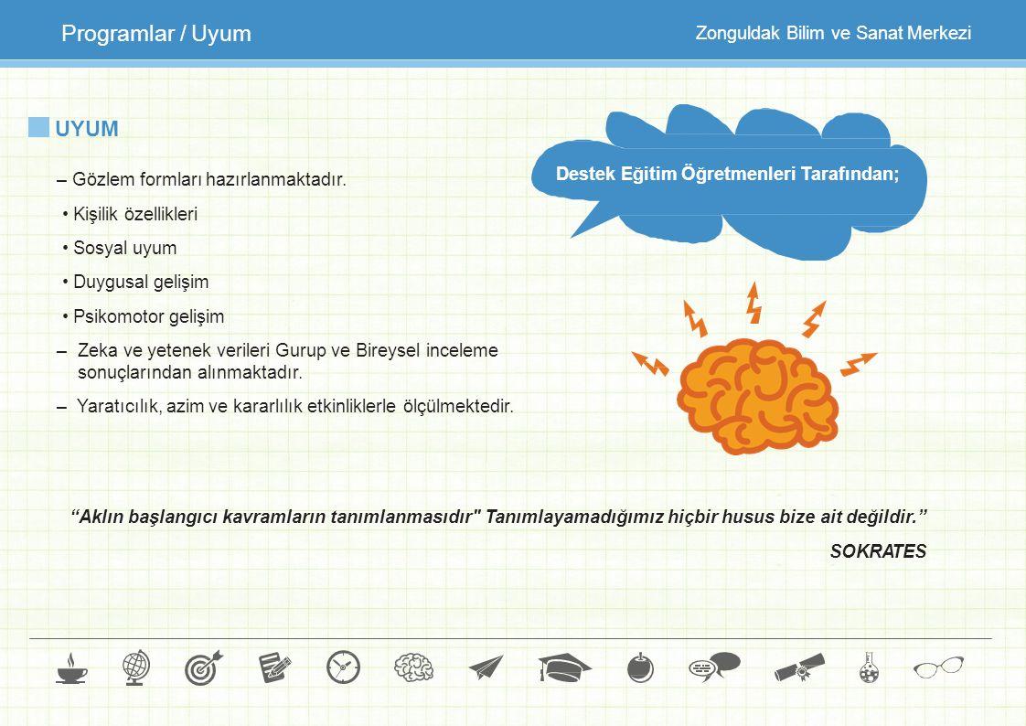 UYUM – Gözlem formları hazırlanmaktadır. Kişilik özellikleri Sosyal uyum Duygusal gelişim Psikomotor gelişim –Zeka ve yetenek verileri Gurup ve Bireys
