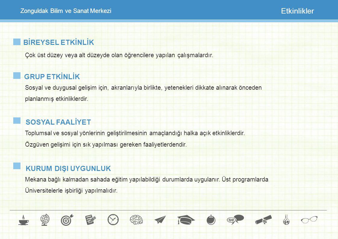 Zonguldak Bilim ve Sanat Merkezi Etkinlikler BİREYSEL ETKİNLİK Çok üst düzey veya alt düzeyde olan öğrencilere yapılan çalışmalardır. GRUP ETKİNLİK So