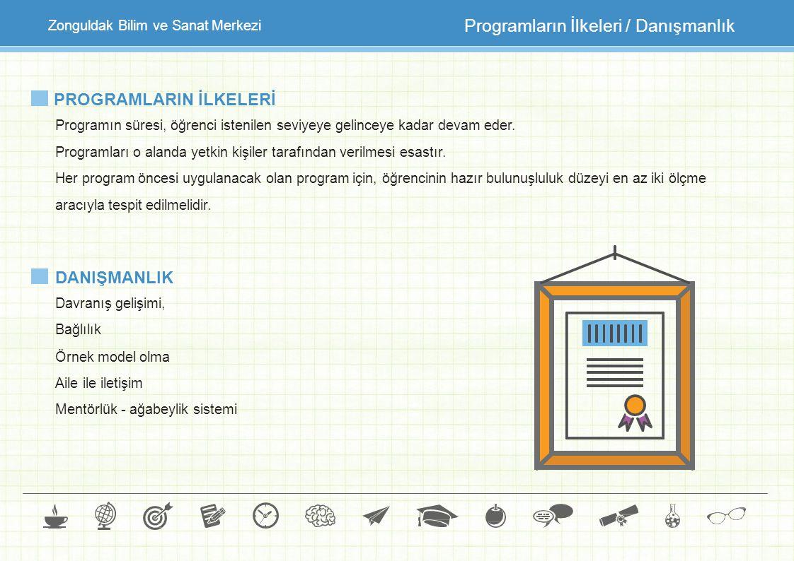 Zonguldak Bilim ve Sanat Merkezi Programların İlkeleri / Danışmanlık PROGRAMLARIN İLKELERİ Programın süresi, öğrenci istenilen seviyeye gelinceye kada