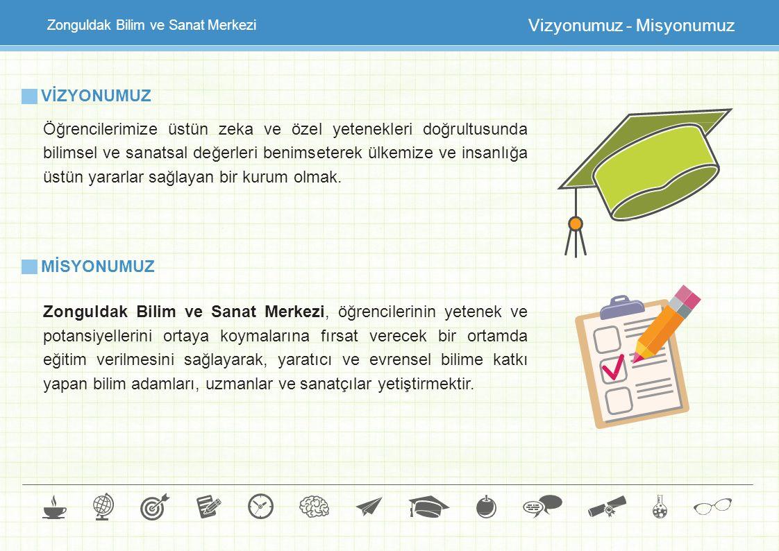 Zonguldak Bilim ve Sanat Merkezi Vizyonumuz - Misyonumuz VİZYONUMUZ Öğrencilerimize üstün zeka ve özel yetenekleri doğrultusunda bilimsel ve sanatsal