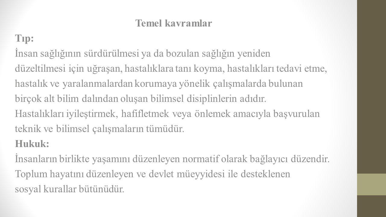 Sağlık hukuku ile ilgili temel tüzükler  Tıbbi Deontoloji Nizamnamesi  Türk Eczacılar Deontoloji Tüzüğü  Özel Hastaneler Tüzüğü