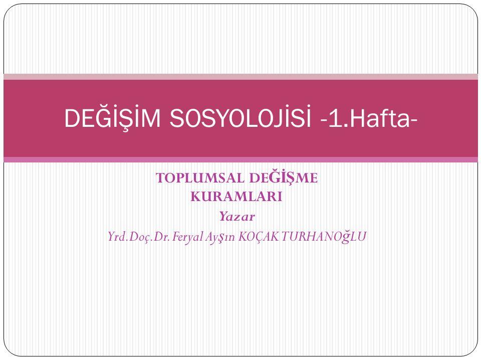 TOPLUMSAL DE ĞİŞ ME KURAMLARI Yazar Yrd.Doç.Dr.