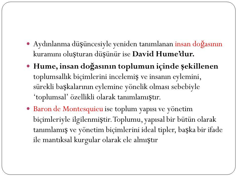 Aydınlanma dü ş üncesiyle yeniden tanımlanan insan do ğ asının kuramını olu ş turan dü ş ünür ise David Hume'dur.