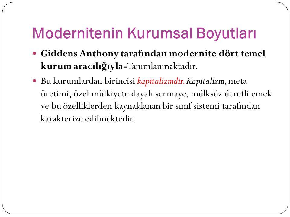 Modernitenin Kurumsal Boyutları Giddens Anthony tarafından modernite dört temel kurum aracılı ğ ıyla-Tanımlanmaktadır.