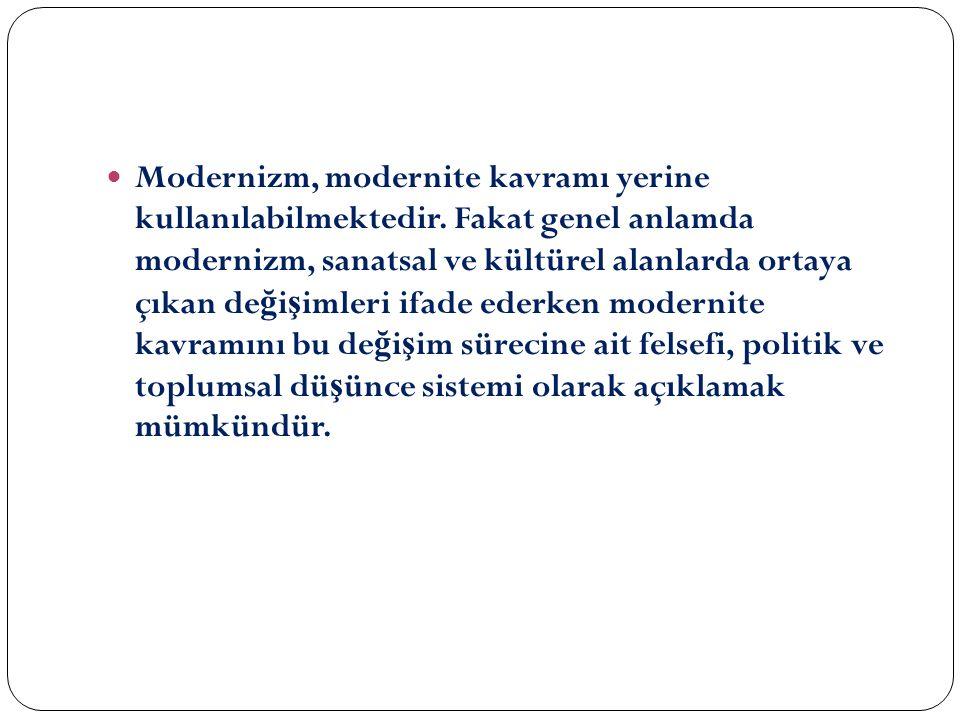 Modernizm, modernite kavramı yerine kullanılabilmektedir.
