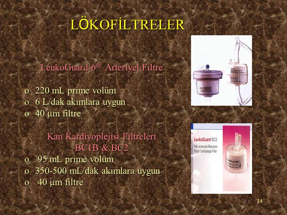 14 L Ö KOFİLTRELER LeukoGuard-6 ® Arteriyel Filtre o220 mL prime volüm o6 L/dak akımlara uygun o40 µm filtre Kan Kardiyoplejisi Filtreleri BC1B & BC2
