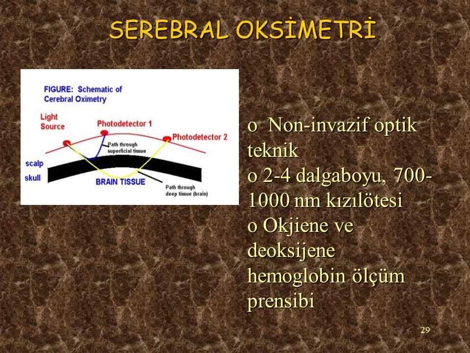 29 SEREBRAL OKSİMETRİ o Non-invazif optik teknik o 2-4 dalgaboyu, 700- 1000 nm kızılötesi o Okjiene ve deoksijene hemoglobin ölçüm prensibi