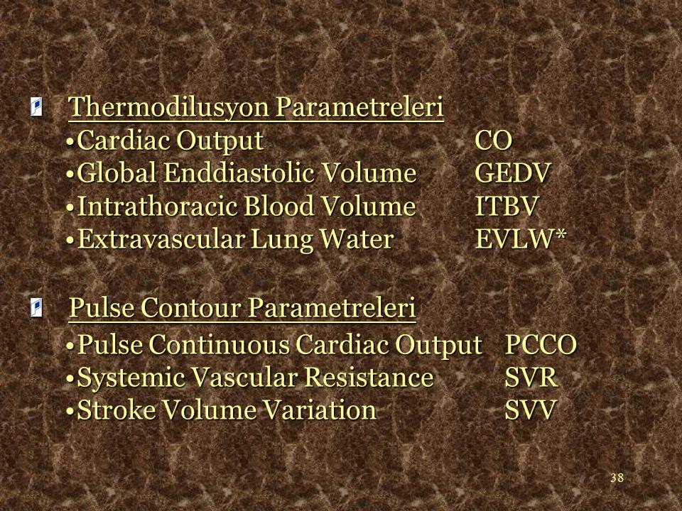 38 Thermodilusyon Parametreleri Thermodilusyon Parametreleri Cardiac OutputCOCardiac OutputCO Global Enddiastolic Volume GEDVGlobal Enddiastolic Volum