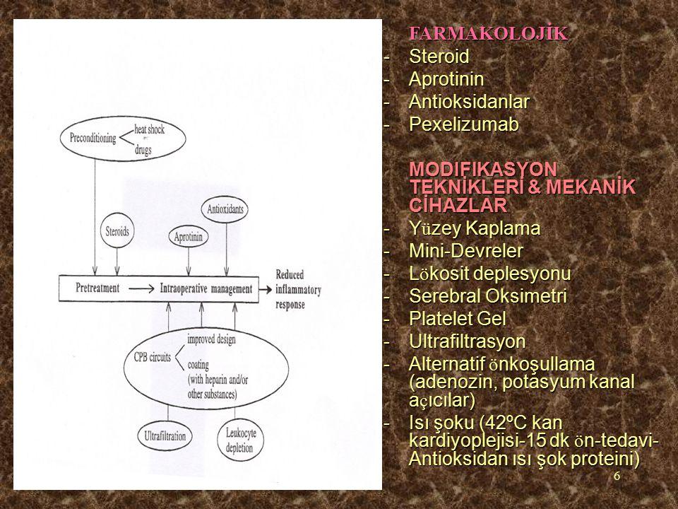 6FARMAKOLOJİK -Steroid -Aprotinin -Antioksidanlar -Pexelizumab MODIFIKASYON TEKNİKLERİ & MEKANİK CİHAZLAR -Y ü zey Kaplama -Mini-Devreler -L ö kosit deplesyonu -Serebral Oksimetri -Platelet Gel -Ultrafiltrasyon -Alternatif ö nkoşullama (adenozin, potasyum kanal a ç ıcılar) -Isı şoku (42ºC kan kardiyoplejisi-15 dk ö n-tedavi- Antioksidan ısı şok proteini)