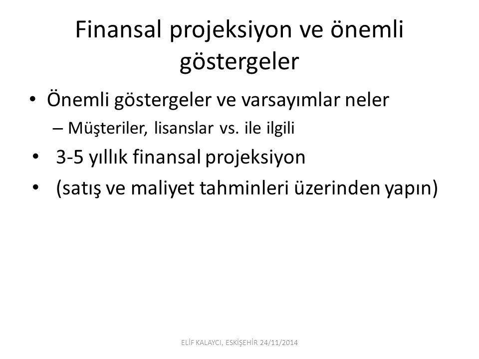 Finansal projeksiyon ve önemli göstergeler Önemli göstergeler ve varsayımlar neler – Müşteriler, lisanslar vs.