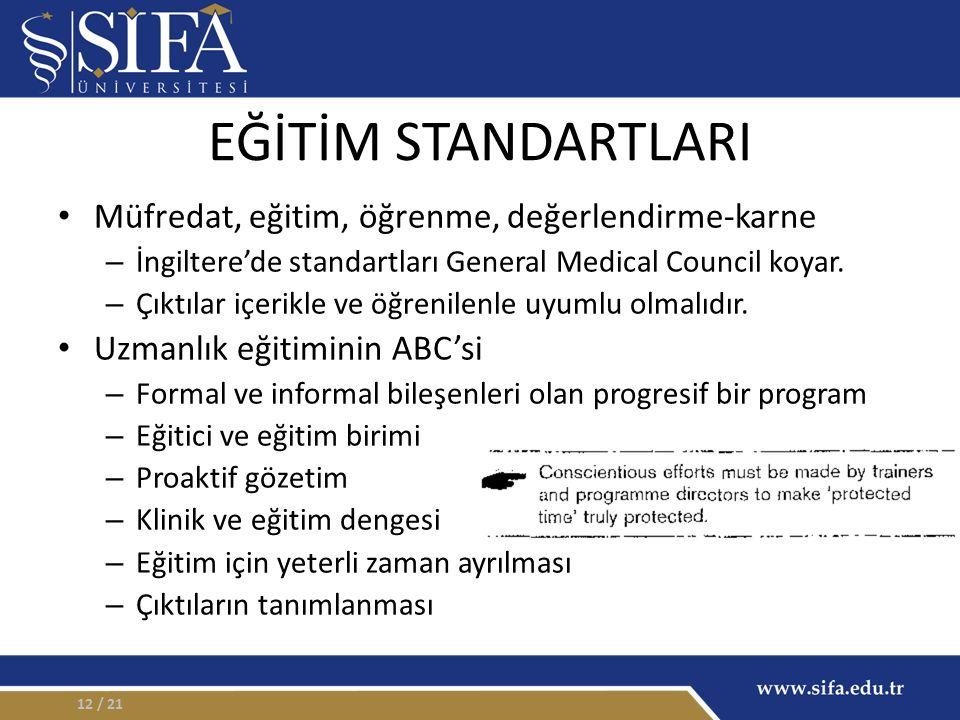EĞİTİM STANDARTLARI Müfredat, eğitim, öğrenme, değerlendirme-karne – İngiltere'de standartları General Medical Council koyar.