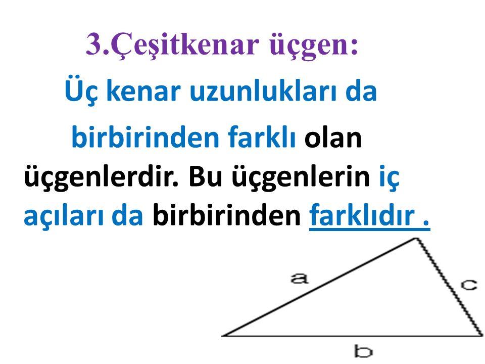 2. İkizkenar üçgen: İki kenar uzunlukları birbirine eşit olan üçgenlerdir. Bu üçgenlerin alt açıları birbirine eşittir.