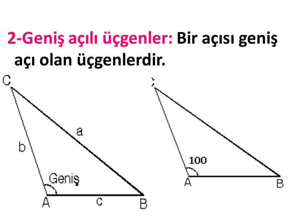 AÇILARINA GÖRE ÜÇGENLER Bir üçgenin iç açılarının toplamı 180 derecedir. Üçgenler açılarına göre 3'e ayrılır. 1-Dik açılı üçgenler: °) Bir açısı dik a