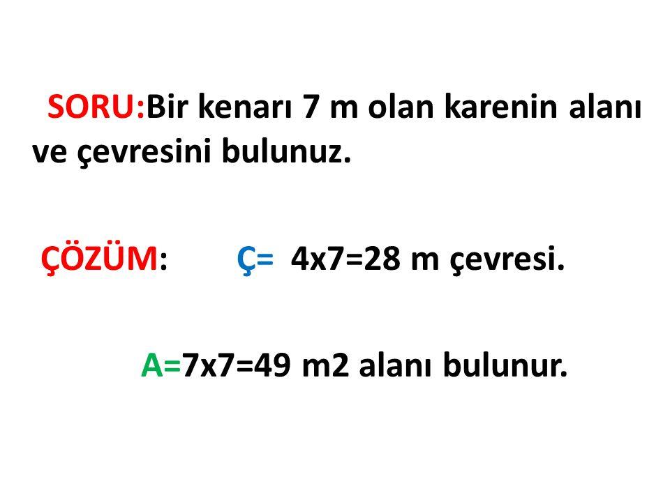 Karenin Alanını Hesaplama 8x8=64 birim kare alanı bulunur.