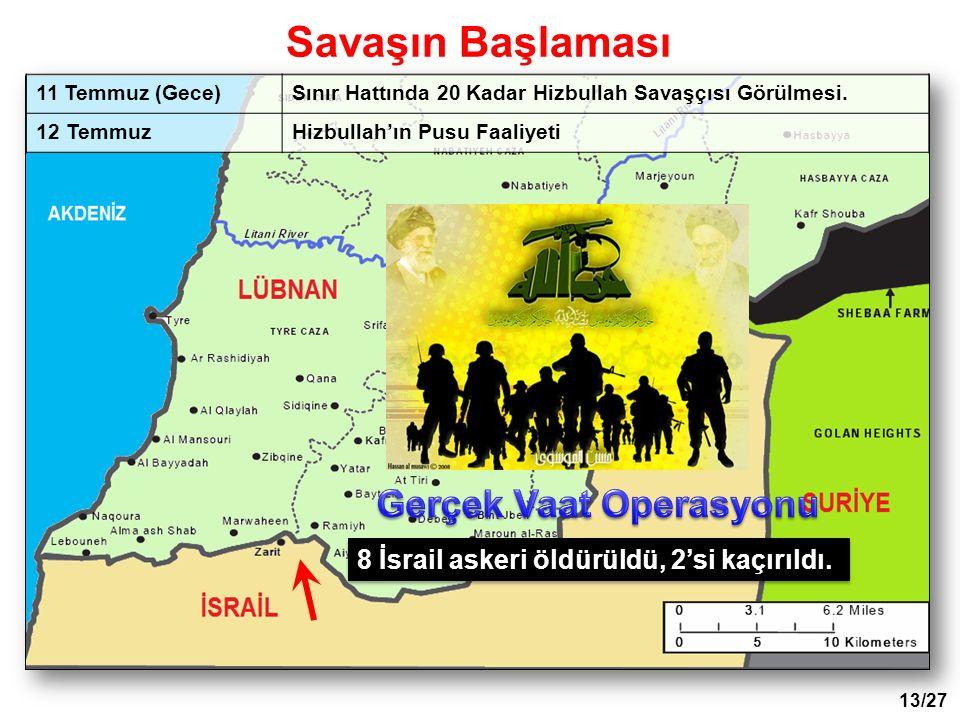 11 Temmuz (Gece)Sınır Hattında 20 Kadar Hizbullah Savaşçısı Görülmesi. 12 TemmuzHizbullah'ın Pusu Faaliyeti 8 İsrail askeri öldürüldü, 2'si kaçırıldı.