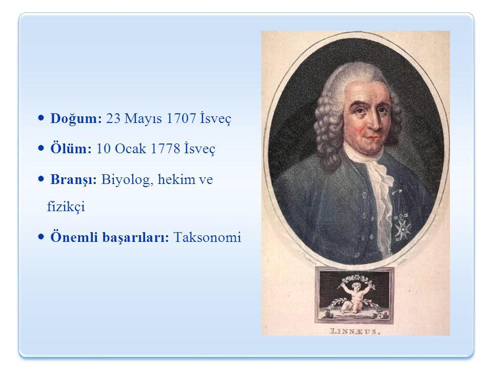 Doğum: 23 Mayıs 1707 İsveç Ölüm: 10 Ocak 1778 İsveç Branşı: Biyolog, hekim ve fizikçi Önemli başarıları: Taksonomi