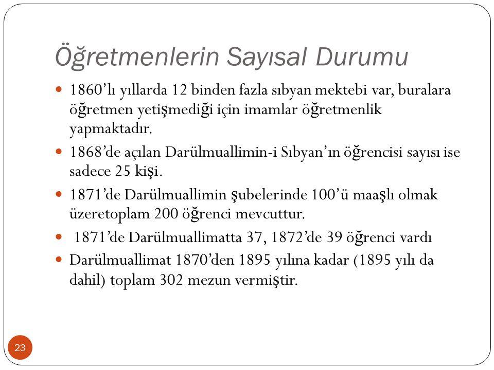 Öğretmenlerin Sayısal Durumu 1860'lı yıllarda 12 binden fazla sıbyan mektebi var, buralara ö ğ retmen yeti ş medi ğ i için imamlar ö ğ retmenlik yapmaktadır.