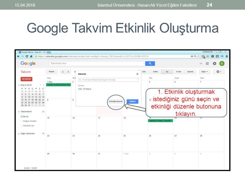 Google Takvim Etkinlik Oluşturma 1.