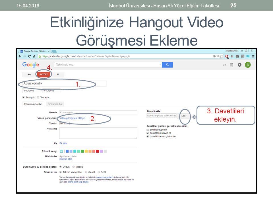 Etkinliğinize Hangout Video Görüşmesi Ekleme 1. 2.
