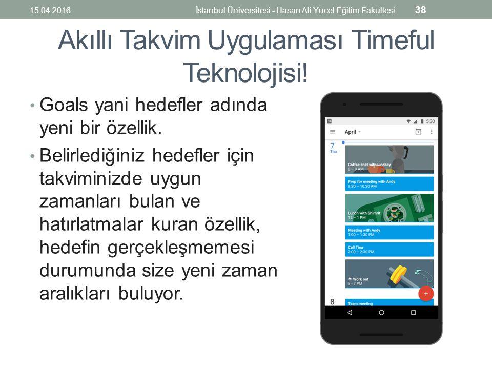 Akıllı Takvim Uygulaması Timeful Teknolojisi. Goals yani hedefler adında yeni bir özellik.
