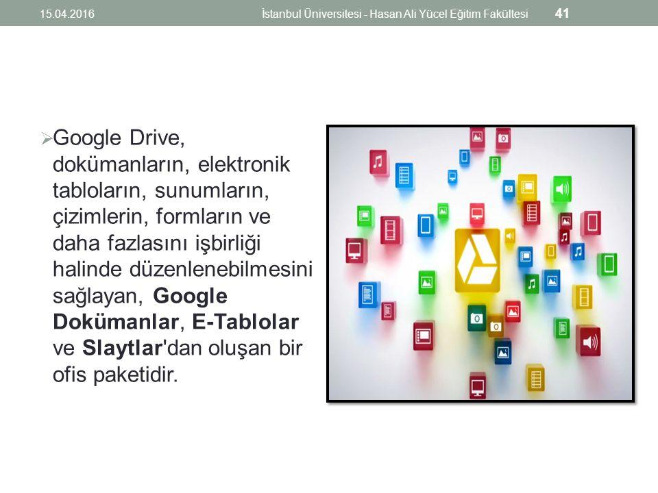  Google Drive, dokümanların, elektronik tabloların, sunumların, çizimlerin, formların ve daha fazlasını işbirliği halinde düzenlenebilmesini sağlayan, Google Dokümanlar, E-Tablolar ve Slaytlar dan oluşan bir ofis paketidir.