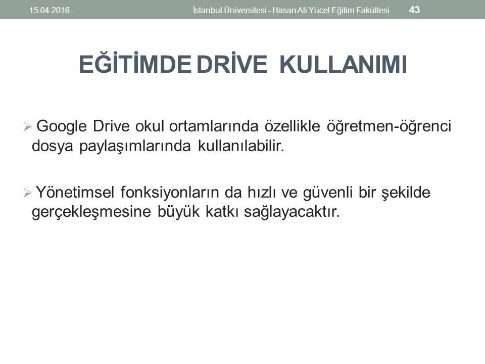 EĞİTİMDE DRİVE KULLANIMI  Google Drive okul ortamlarında özellikle öğretmen-öğrenci dosya paylaşımlarında kullanılabilir.