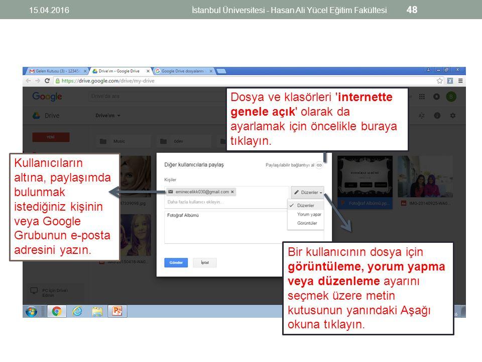 Kullanıcıların altına, paylaşımda bulunmak istediğiniz kişinin veya Google Grubunun e-posta adresini yazın.
