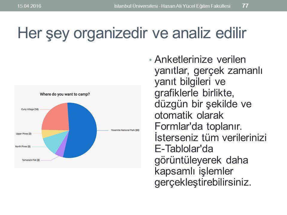 Her şey organizedir ve analiz edilir Anketlerinize verilen yanıtlar, gerçek zamanlı yanıt bilgileri ve grafiklerle birlikte, düzgün bir şekilde ve otomatik olarak Formlar da toplanır.