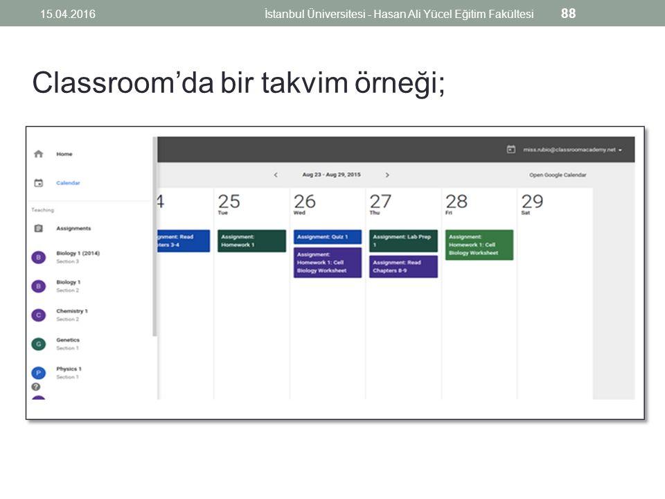 Classroom'da bir takvim örneği; 15.04.2016İstanbul Üniversitesi - Hasan Ali Yücel Eğitim Fakültesi 88